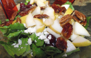 pear pecan salad with honey pear dressing
