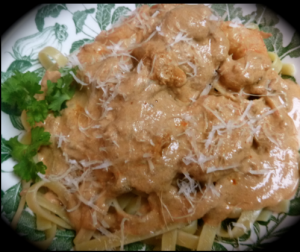 creamy pasta sauce with prawns